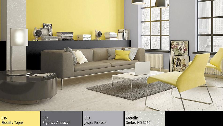Brokatowa ściana - Farba strukturalna imitująca srebro Metallici w salonie