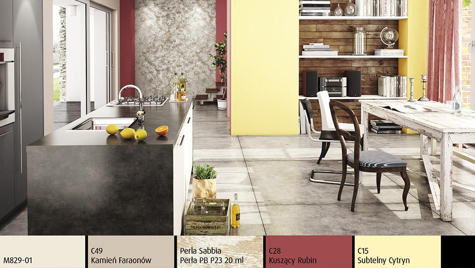 Wnętrze w stylu eklektycznym z brokatową ścianą