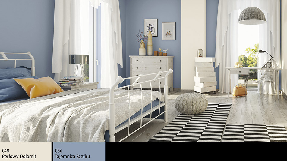Farba Perłowy Dolomit z efektem brokatu w sypialni w stylu prowansalskim