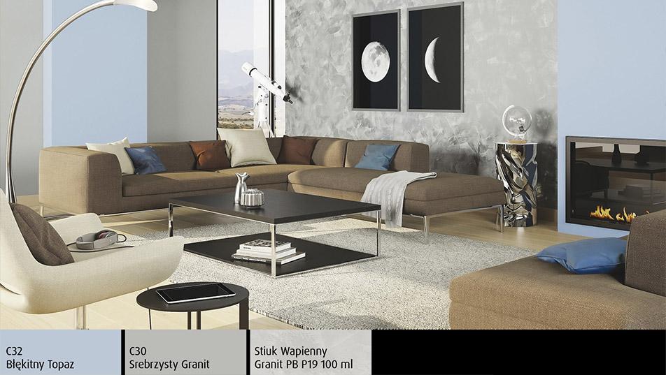 Brokatowa ściana - Stiuk Wapienny Magnat Style w nowoczesnym salonie z kominkiem