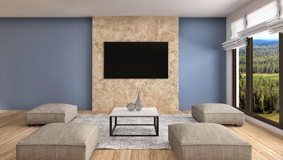 Ściana za telewizorem pokryta Perla Sabbia Magnat