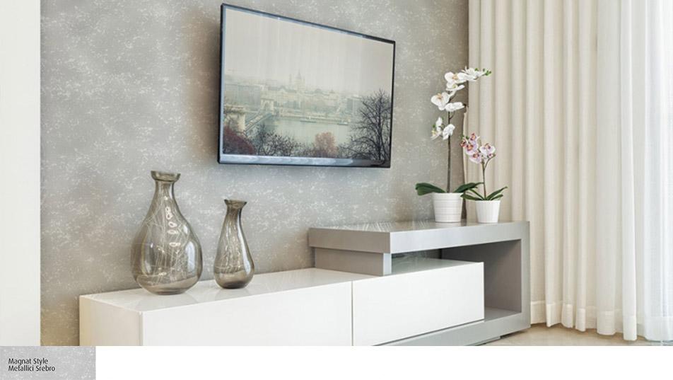 Ściana za telewizorem pokryta MAGNAT STYLE Metallici Srebro