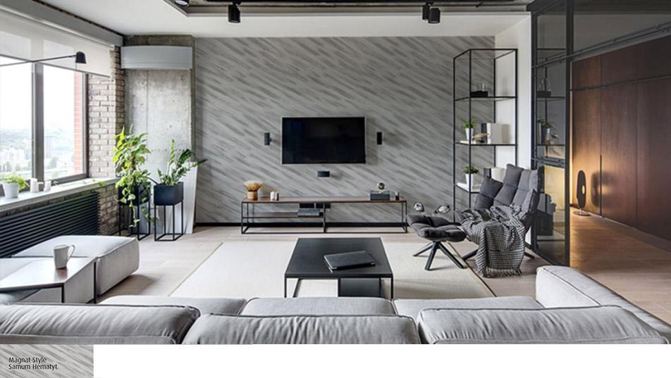 Ściana za telewizorem pokryta Samum Magnat Style